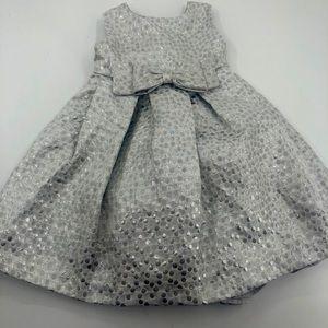 18/24 Silver Bow Party Dress Pretty EUC